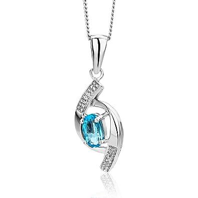 beau chaussures exclusives techniques modernes Miore - Collier avec Pendentif Femme - Or blanc (9 carats) 1.86 gr -  Diamant/Topaze
