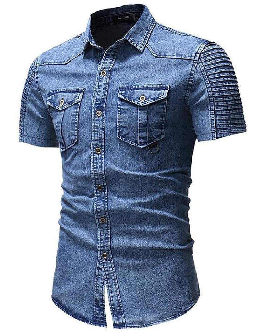 UUYUK Men Short Sleeve Casual Retro Button Front Slim Denim Shirt