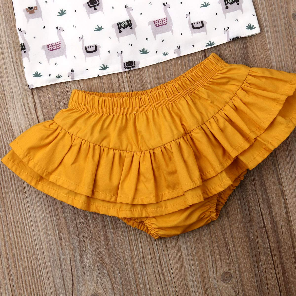 Baby Girls Alpaca/&Floral Print Sleeveless Vest Tops+Multi-Tulle Elastic Short Pants 2pcs Summer Casual Shorts Set