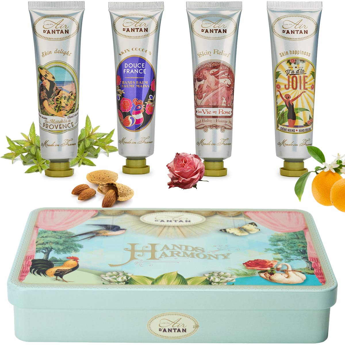 Un Air d'Antan Beauty Set. Moisturizing Hand Creams with Shea Butter, Aloe Vera or Sweet Almond in a Vintage Tin Box. Fragrance: Rose, Almond, Verbena, Orange Blossom. 4x0.8oz. Christmas Gift Idea