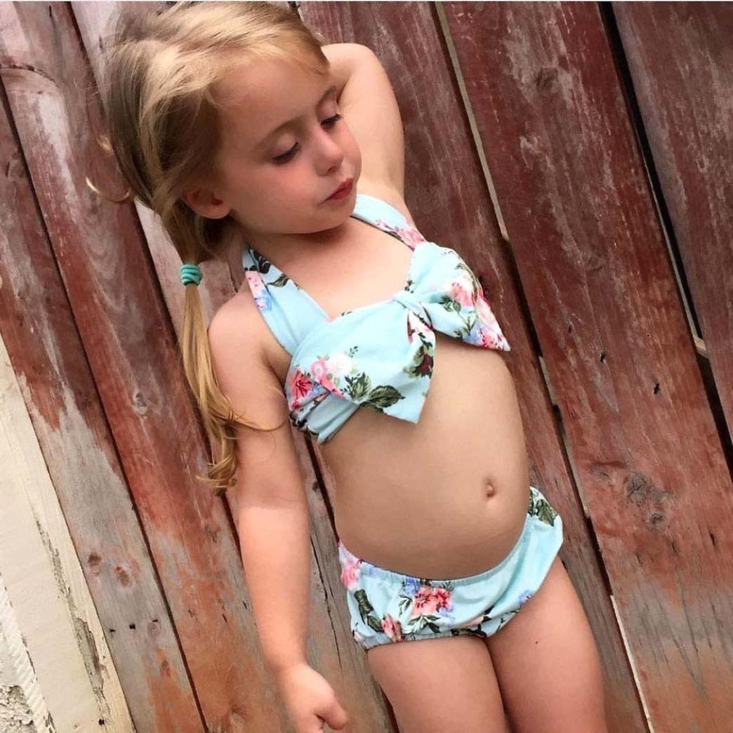 Bebé niña de baño 2pcs Kid Chica Ropa Trajes de baño de Flores Arco Verano Playa Bikini Set 6-12 Meses Verde: Amazon.es: Electrónica