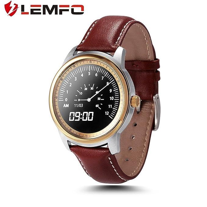 LEMFO LEM1 podómetro Reloj de Pulsera de Bluetooth sincronización Libro de teléfono para iOS para Android (Color: Oro Rosa y marrón): Amazon.es: Electrónica
