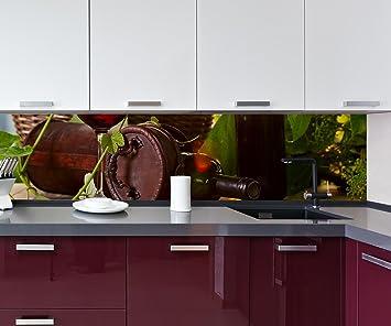 Cocina Pared Trasera Botella con Vino Tinto Design M0831 260 x 60 cm (W x H) ...