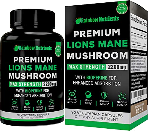 Premium Organic Lions Mane Mushroom Capsules- 2200mg Absorption Enhancer- Immune Support, Brain Booster, Nootropics, Memory Focus Supplements, Mental Clarity – 90 Vegan Pills