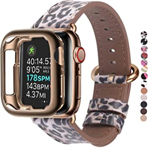 JSGJMY Compatible Apple Watch Band 38mm 40mm with Case,Women Genuine Leather Strap with Bronze Gold Adapter and Buckle for iwatch Series 5/4/3/2/1, Leopard
