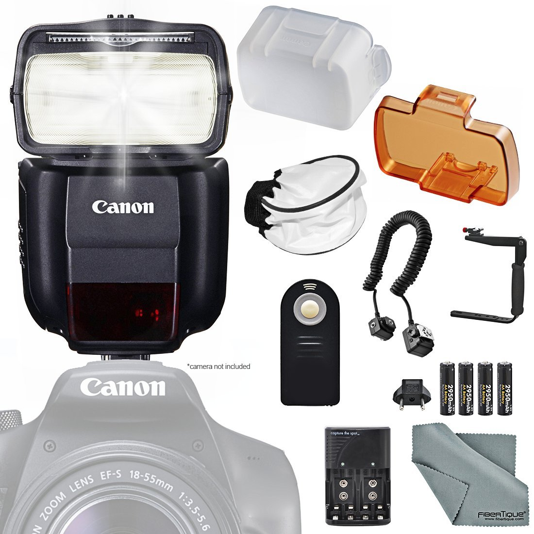 Canon Speedlite 430EX III-RT Flash (0585C006) w/ Essential Bundle Includes: 180Degree Quick Flip Bracket, Camera Flash Cords, Soft Diffuser, Remote Control and FiberTique Microfiber Cleaning Cloth