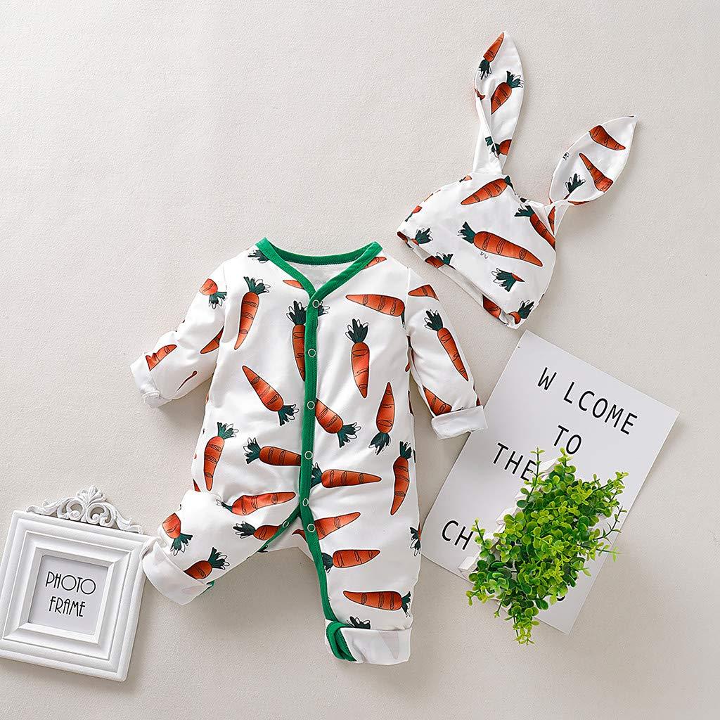 Hasenohren Hut Set Baby Jungen M/ädchen Unisex Outfits Winter Kleidung Beikoard Babykleidung Cartoon Karotten Print Strampler Overall