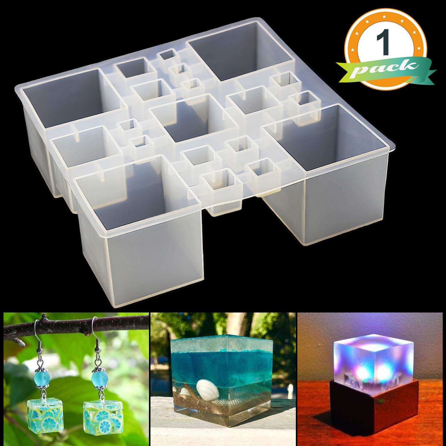 Square Resin Silicone Mold LET'S RESIN Resin Cube Molds, Silicone Molds for Resin, Epoxy Molds for Jewelry, Magic Cube, Paperweight, Specimen Making by LET'S RESIN