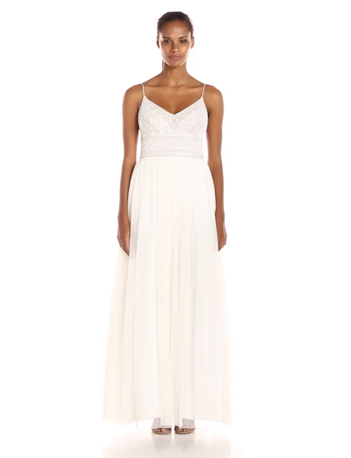 Amazon.com: Adrianna Papell Womens Sleeveless V-Neck Beaded Top Gown: Clothing