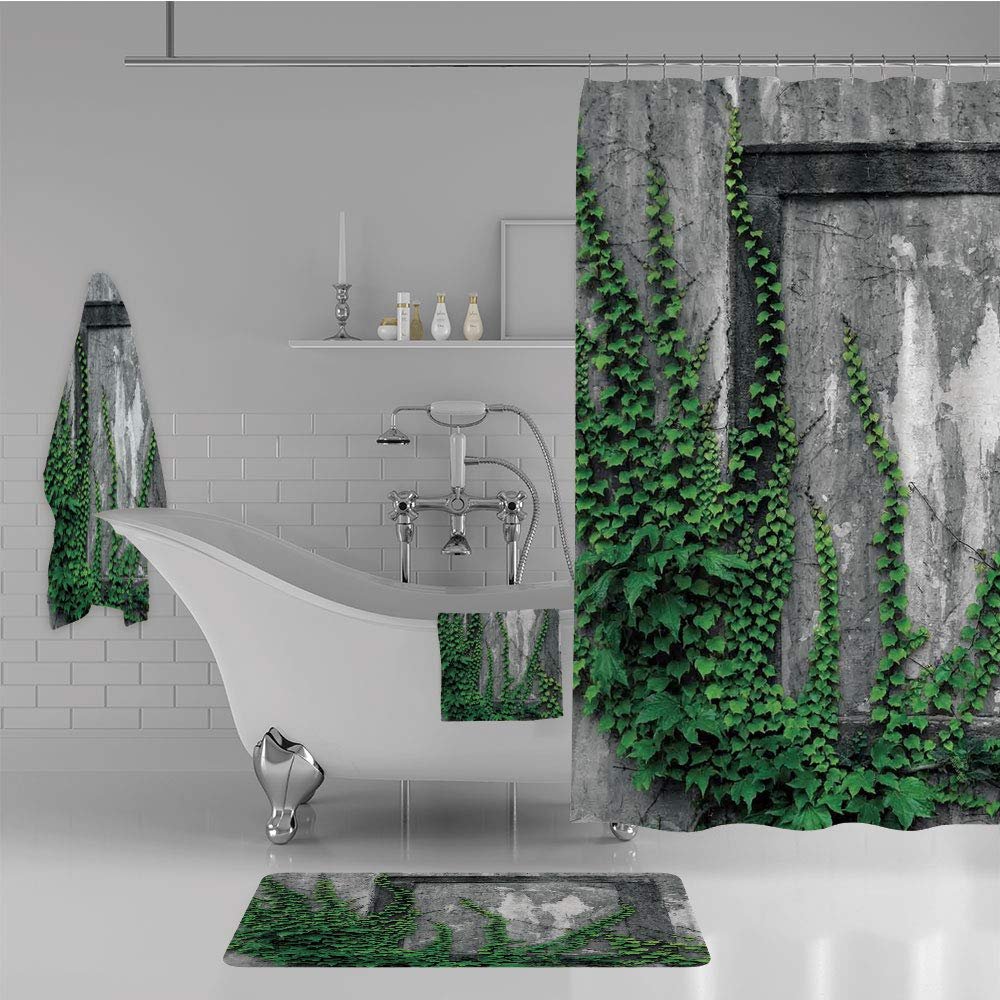 iPrint Bathroom 4 Piece Set Shower Curtain Floor mat Bath Towel 3D Print,with Aged Antique Empty Picture Frame as Window,Fashion Personality Customization adds Color to Your Bathroom.