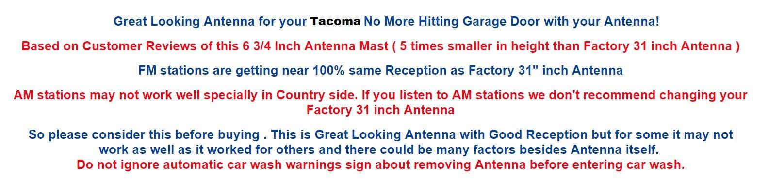 6 3/4'' ANTENNA MAST - FITS : TOYOTA TACOMA 2005 06 07 08 09 10 11 2012 2013 2014 2015