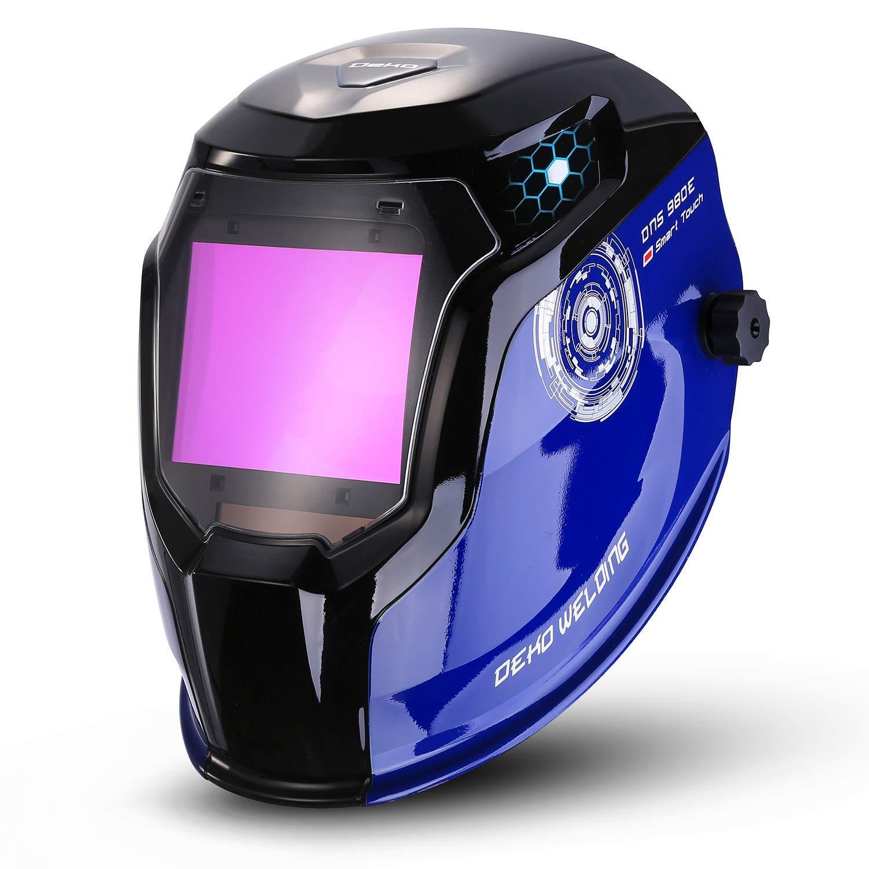 DEKOPRO Durable Solar Powered Welding Helmet Auto Darkening Professional Hood with LED Digital Display Accurate Adjustable Shade Range 4/5-8/9-13 for Mig Tig Arc Weld Grinding Welder Mask Blue Black
