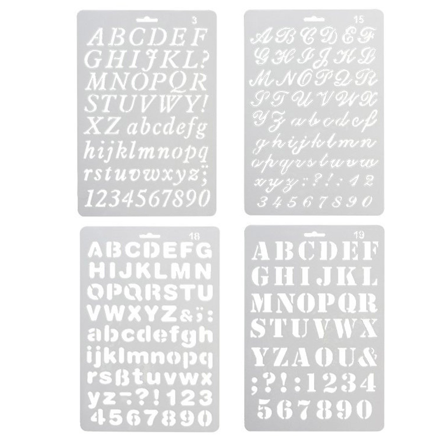 4 PCS Assorted Styles Plastic Number And Letter Artistic Drafting Drawing Templates Stencil Set For DIY Craft Journal Photo Album Scrapbook Schedule Book Diary Art Projects Gosear