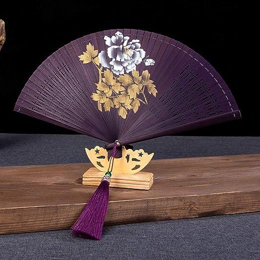 LNYLYR Ventilador Plegable, Flor de peonía China Tallado a Mano ...