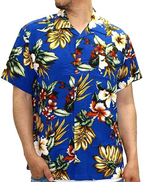 10e52cf41 Roushatte Men's Hawaiian Aloha Shirt Print Rayon Casual Shirt (Medium, ...