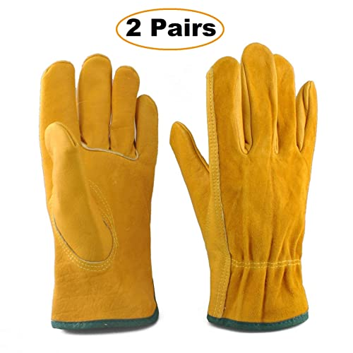 Heavy Duty Gardening Gloves for Men & Women, 2 Pairs Thorn Proof Leather Work Gloves, Waterproof Slim-Fit Reinforced Rigger Gloves, Durable and Flexible (Medium)