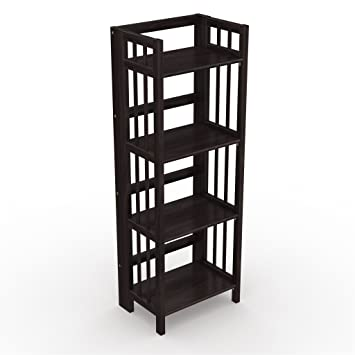 Amazon.com: Stony-Edge No Assembly Folding Bookcase, 4 Shelves ...