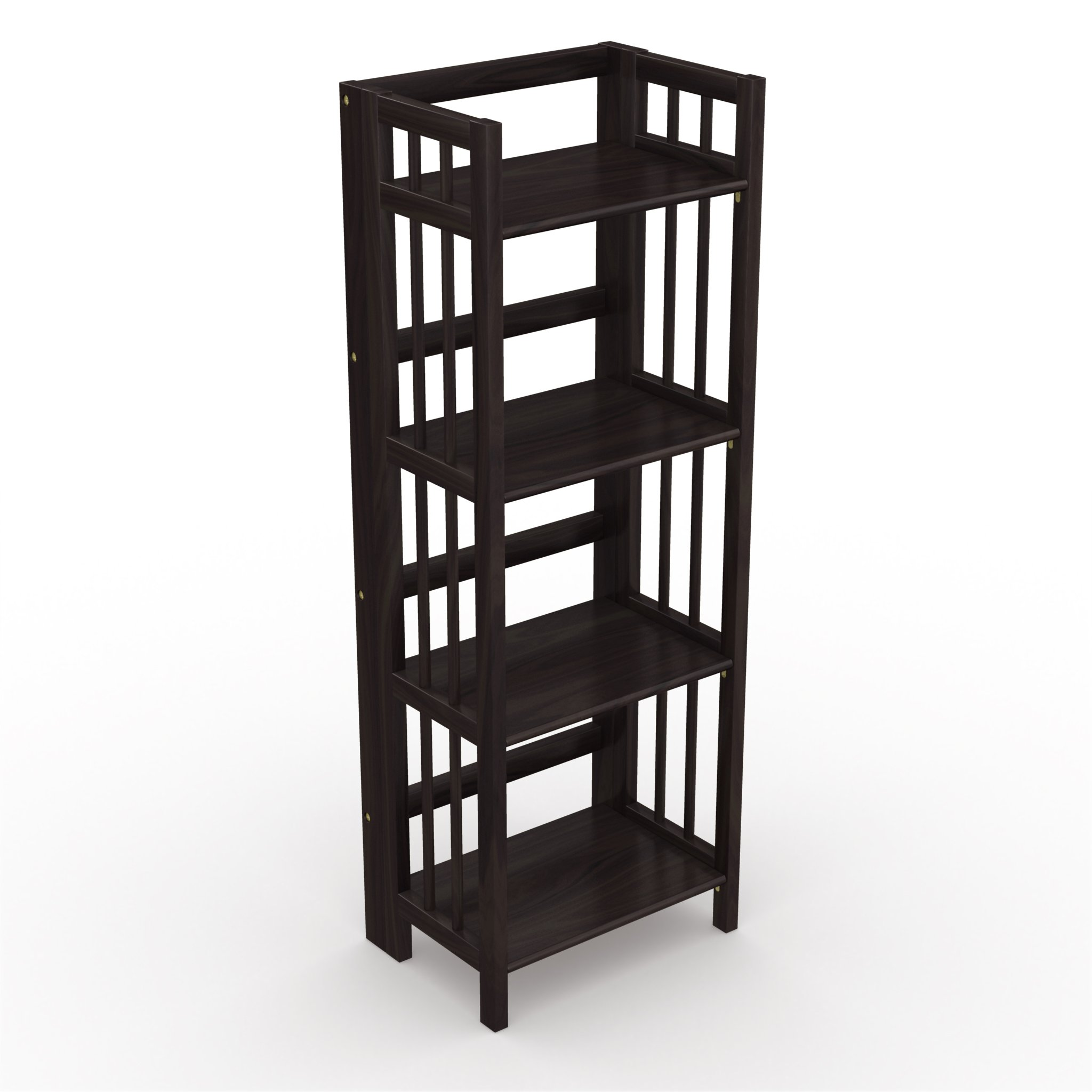 Stony-Edge No Assembly Folding Bookcase, 4 Shelves, Media Cabinet Storage Unit, for Home & Office, Quality Furniture. Espresso Color. 16'' Wide.