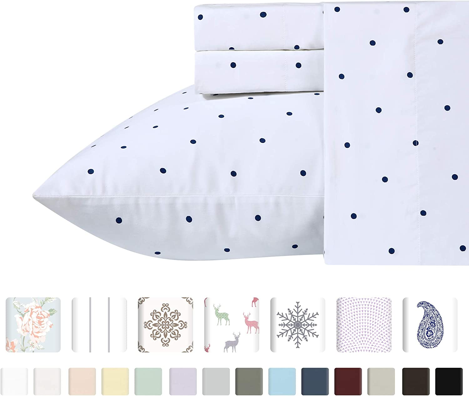 Best Quality 400-Thread-Count 100% Pure Cotton Sheets for Bed - 3 Pc Navy Blue Polka Dot Twin Size Sheet Set, Long-Staple Combed Cotton Printed Flat Top Sheet Sets Fits Mattress Upto 17'' Deep Pocket