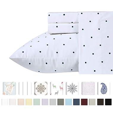 Luxury 400-Thread-Count 100% Pure Natural Cotton Sheet Sets - 4-Piece Navy Blue Polka Dot Full Size Sheet Set Long-Staple Premium Cotton Yarns Hotel Quality Fits Mattress Upto 18'' Deep Pocket