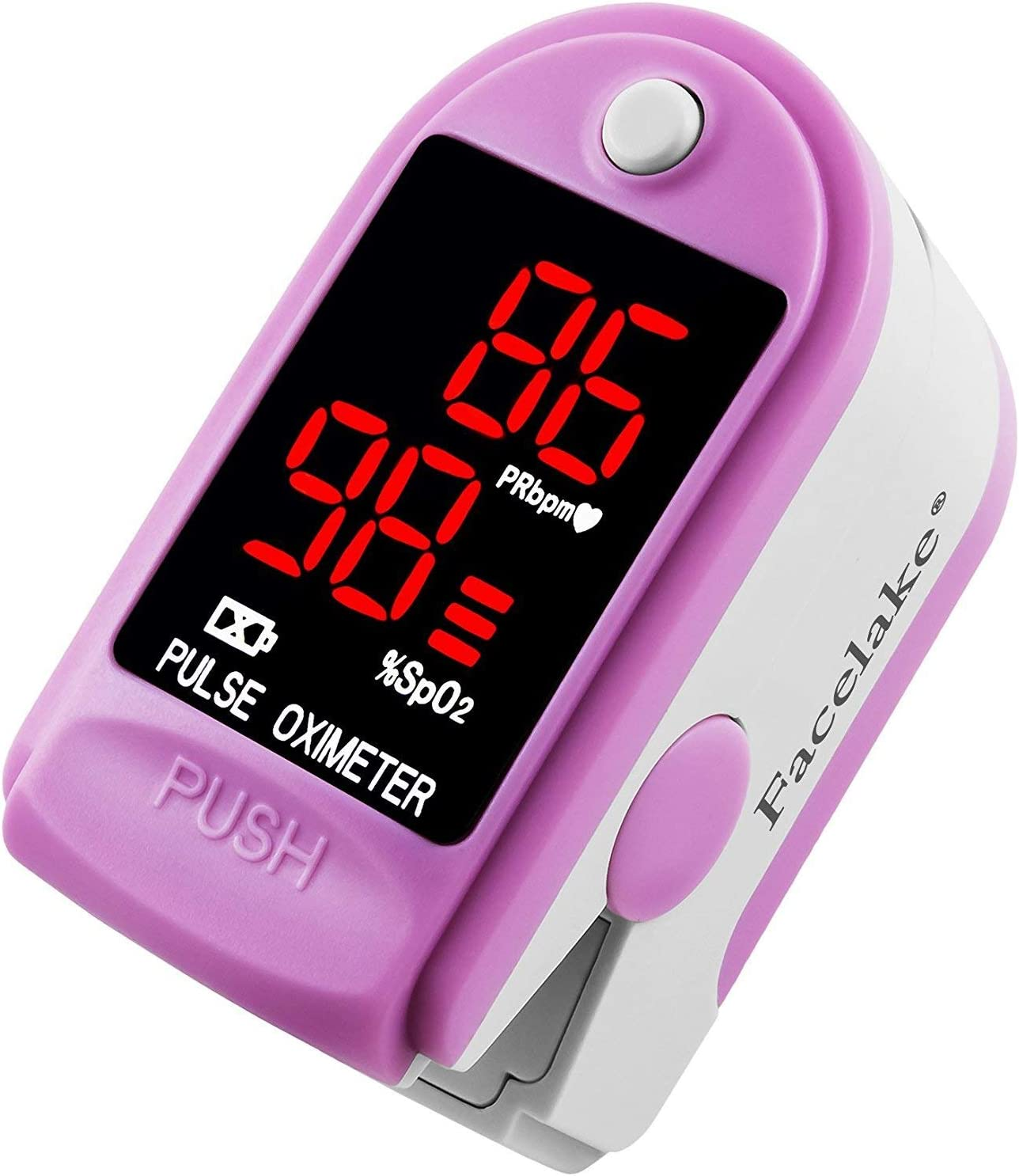 Facelake FL400 Pulse Oximeter with Carrying Case, Batteries, Neck Wrist Cord – Pink