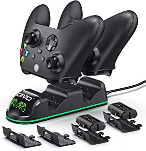 Controller Charger for Xbox Series & One S/X/Elite Controller, OIVO Conroller Charger Docking Station with 2 Packs 1300mAh Rechargeable Battery- 4 Battery Cover Included( Fits One& Series Controller)