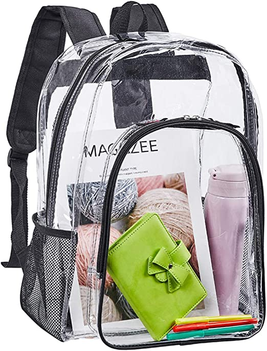 Clear Backpack Heavy Duty See Through Backpack 16 Transparent Large Backpack for College-Blue