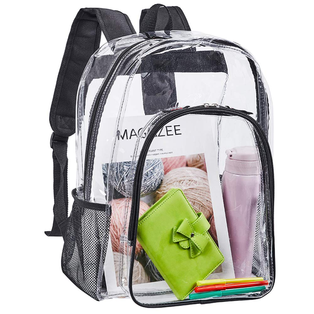 Clear Backpack, Heavy Duty See Through Backpack, Transparent Large Bookbag for College, Work, Security Travel & Sports by Eland