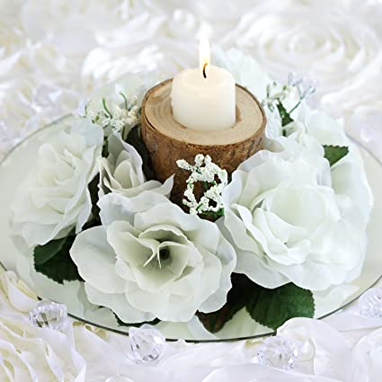 Amazon balsacircle 8 ivory silk roses candle rings artificial balsacircle 8 ivory silk roses candle rings artificial flowers wedding party centerpieces arrangements bouquets junglespirit Gallery