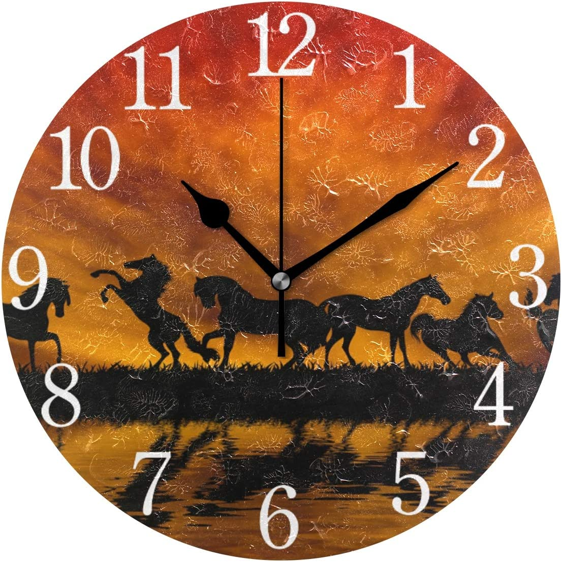 senya Wall Clock Silent 9.5 Inch Battery Operated Non Ticking Round Decorative Acrylic Quiet Clocks for Bedroom Office School Home (Dark Horse)