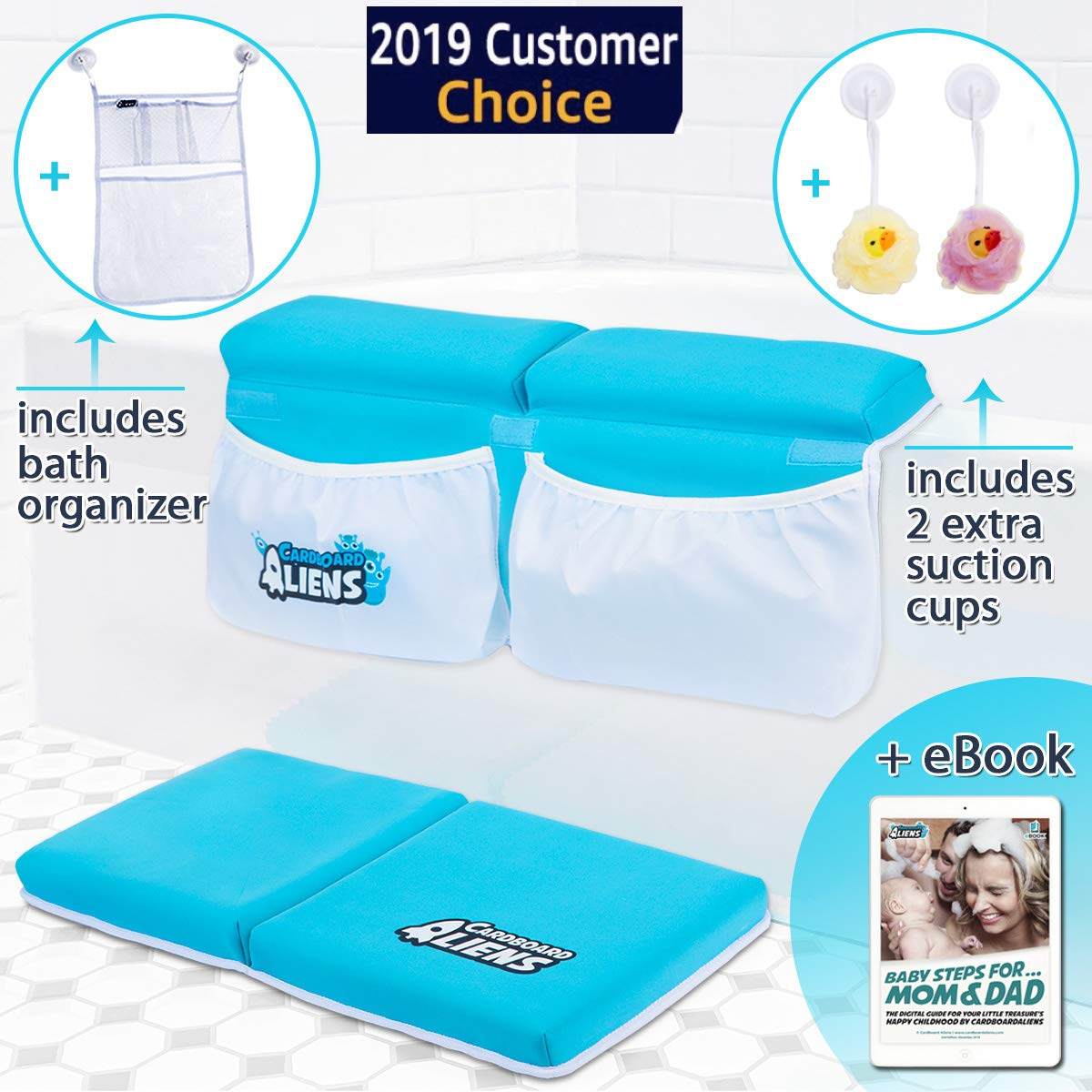 Bath Kneeler and Elbow Rest Thick Pad + Bath Toy Organizer + 2 Extra Suction Cups + eBook with Parenting Tips Set | XL Pockets | Non-Slip Knee Cushion Mat & Arm Support for Baby and Toddler Bath Time