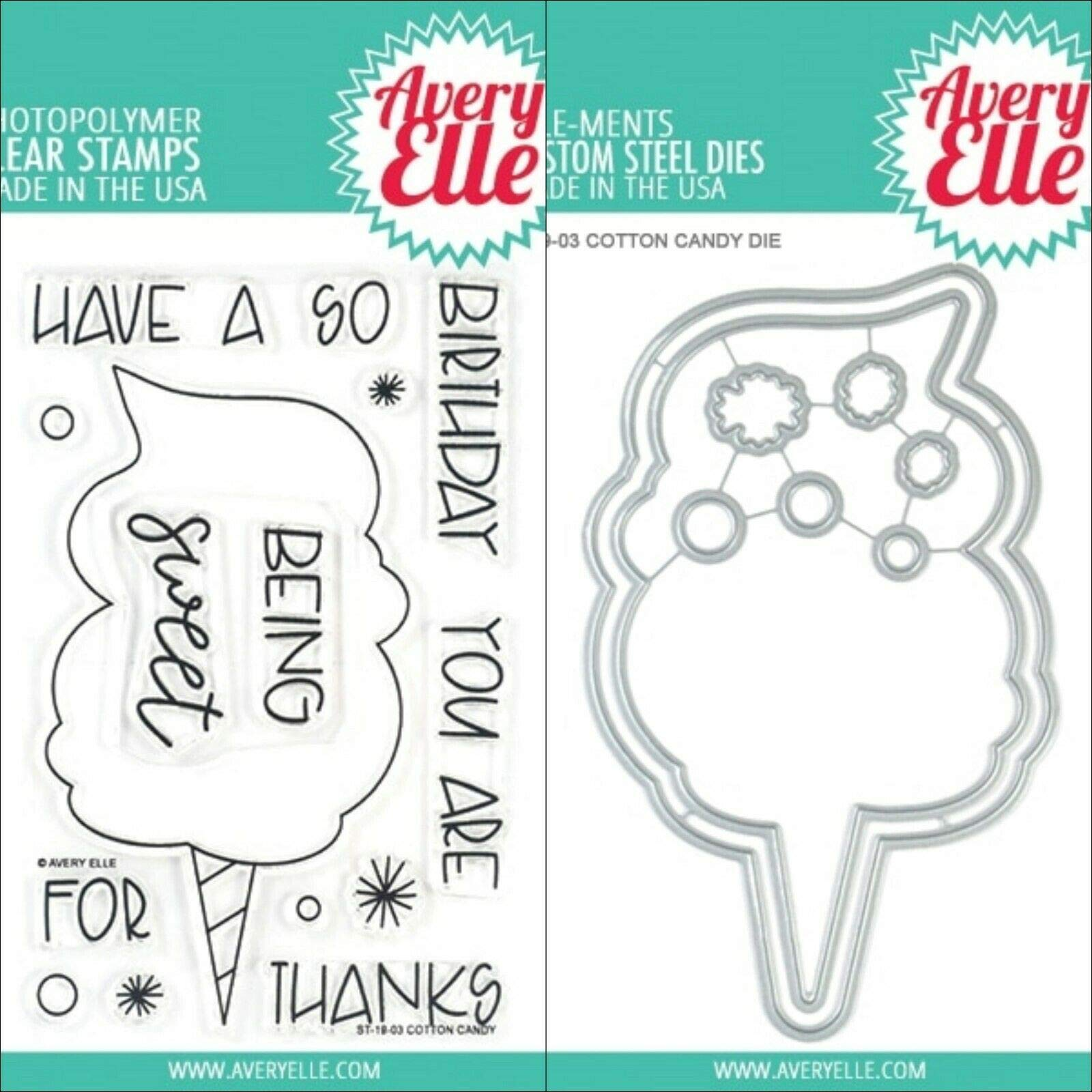ShopForAllYou Stamping & Embossing (Stamp & Die Bundle)''Cotton Candy'' Clear Stamps Only OR Clear Stamp