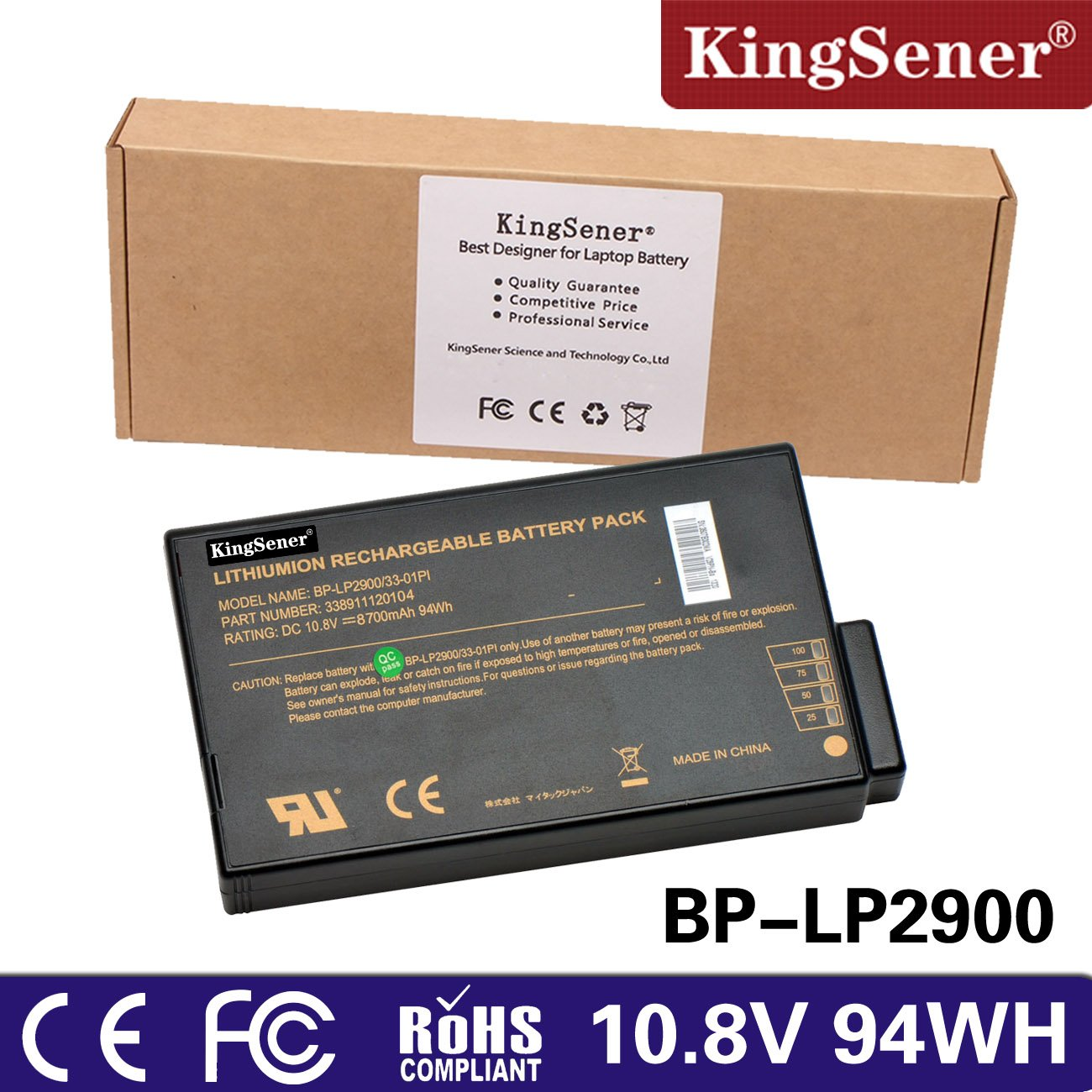 KingSener 8700mAh Laptop Battery for Getac X500 V100 V1010 V200 S400 BP-LP2900/33-01PI 338911120104 BP-LC2600/33-01S1 with Free 2 Years Warrant