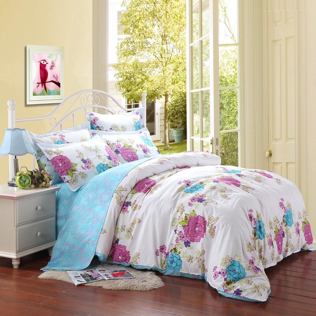Hot pink bed sets - Amazon Com Saym Home Bedding Sets Elegant Rural Style Print Twin Size Set For Lovely Teen Girls 100 Polyester Fiber Duvet Cover Flat Sheet