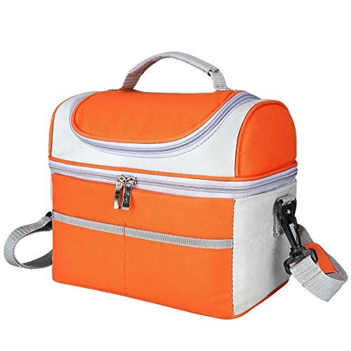 Insulated Lunch Bag Cooler Tote Freezable Lunch Box with Detachable Shoulder Strap for Men,Women,Boys,Girls at Travel Outdoor. (Orange)