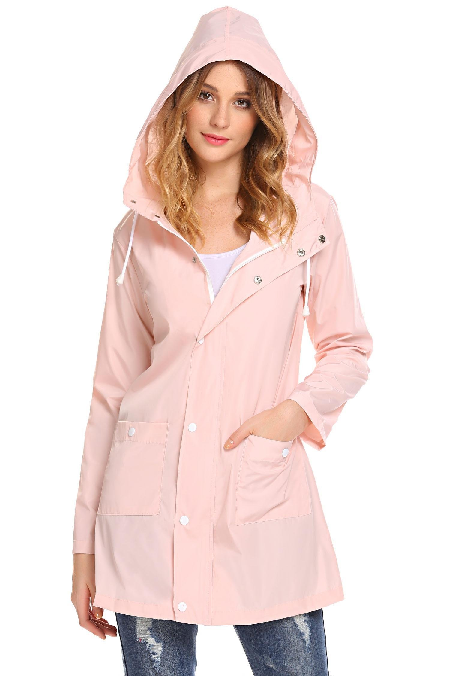 SoTeer Waterproof Lightweight Rain Jacket Active Outdoor Hooded Raincoat for Women Pink M