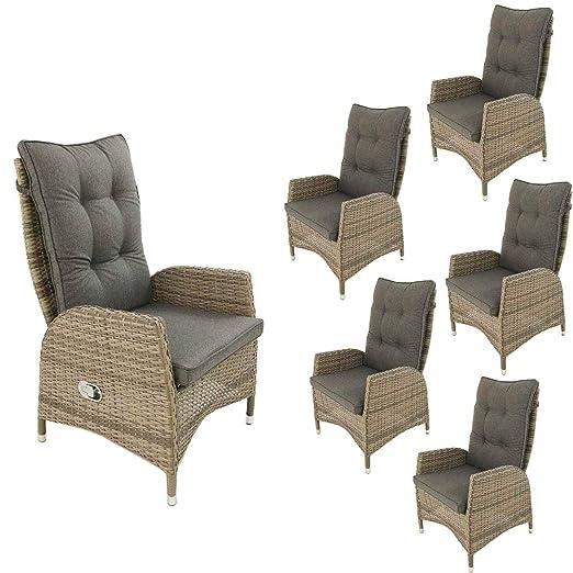 Edenjardi Pack 6 sillones de Exterior reclinables, Tamaño: 63x67x120 cm, Aluminio y rattán sintético Color Gris, Cojín Antracita