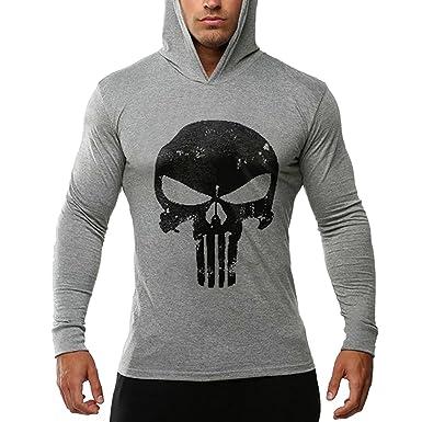 sale retailer f25a5 6a710 Bold Manner Herren Fitness Kapuzen Langarm Pullover Sport mit Schädel  schwarz Rot Weiße Grau