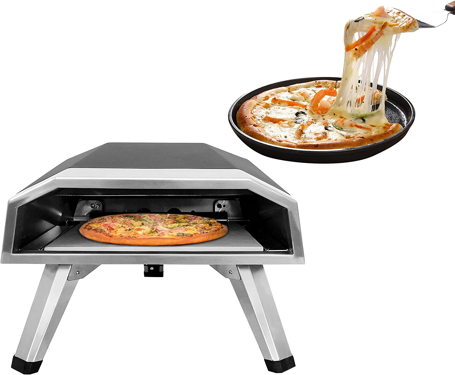 Outdoor Pizza Oven,Portable Gas Oven Stainless Steel Pizza Toaster with 12