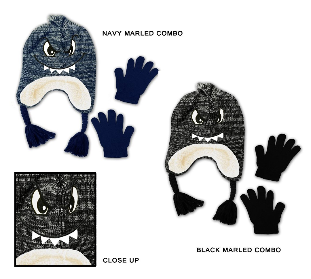 Wholesale Sock Deals 24 Pack Of WSD Toddler Boy's Sherpa Lined Earflap Hat & Magic Glove Sets - Monster Designs
