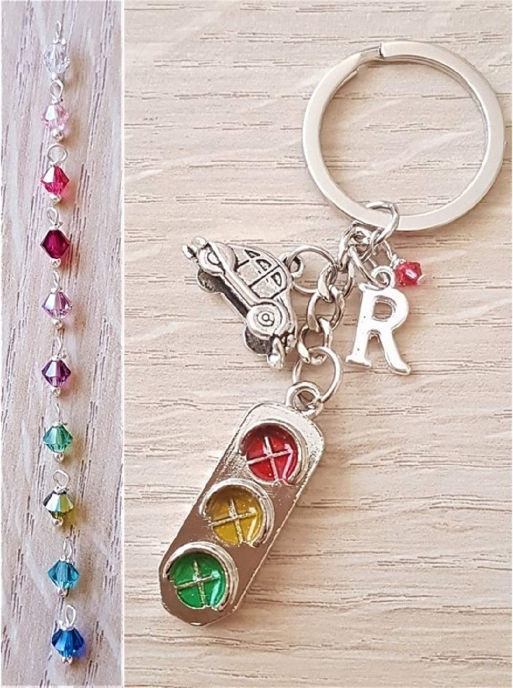 Handmade Congratulations You Passed Driving Test New Car Personalised Initial Keyring with Genuine Swarovski Crystal