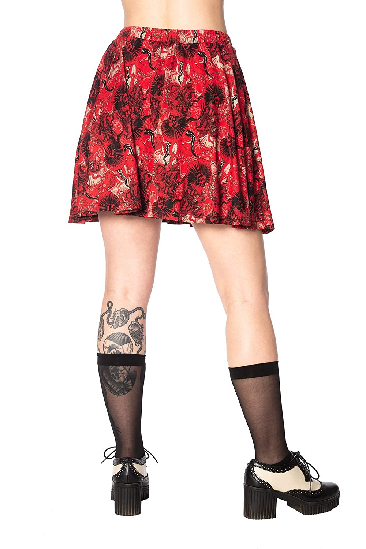 a6a622075 Banned Apparel Falda Corta Skater con Vuelo Estampado Rojo Mad Dame ...
