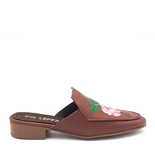 Eva López Shoes Mocasines Marrones Destalonados Mujer con Bordado de Piel: Amazon.es: Zapatos y complementos