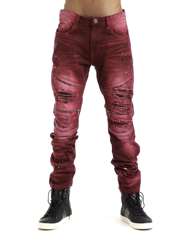 Smoke Rise Men's Slim Twill Biker Pants With Zipper and PU Backing