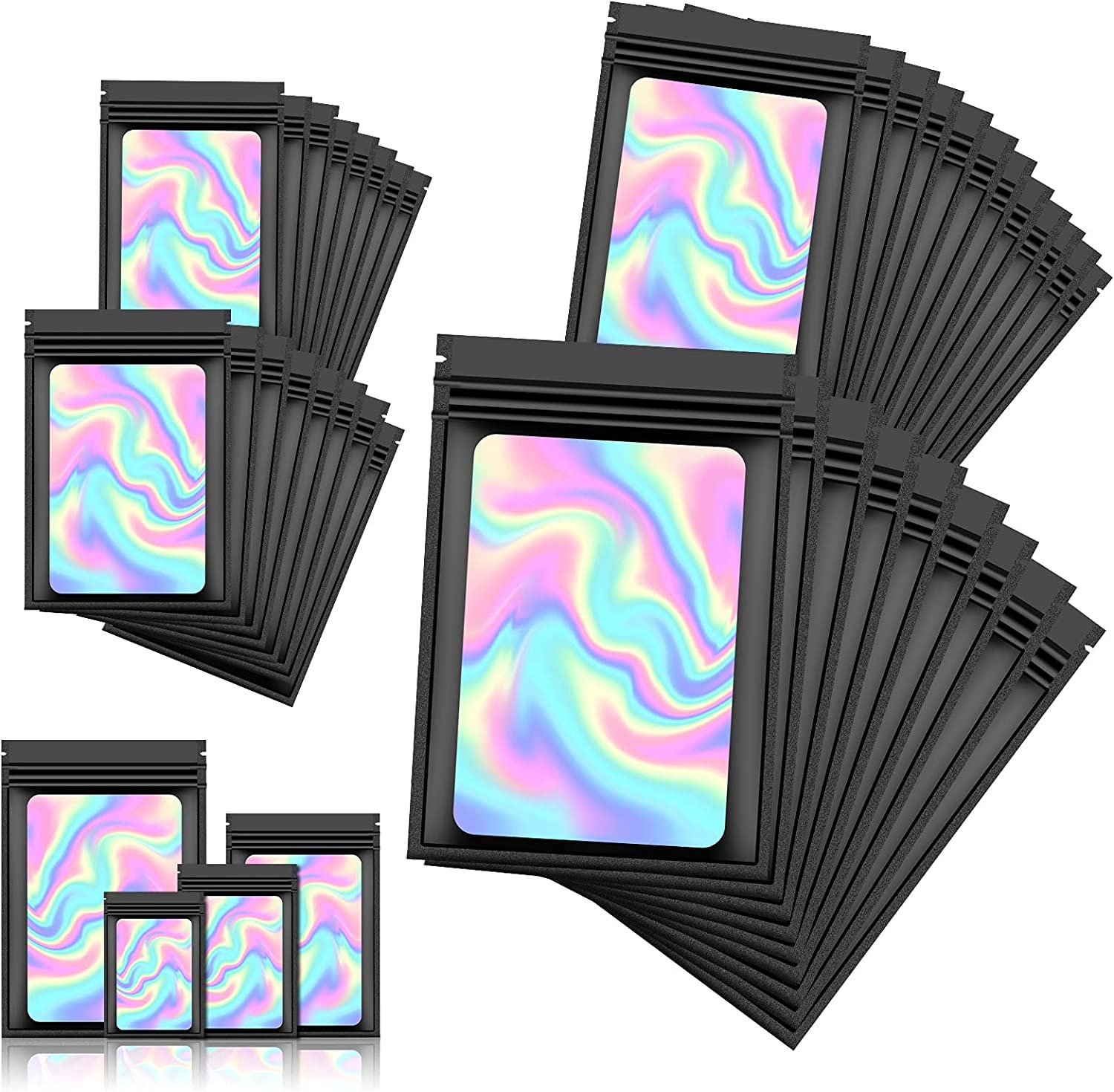 120 PCS Smell Proof Mylar Bags Resealable Odor Proof Bags Holographic Packaging Pouch Bag with Clear Window for Food Storage Eyelash Jewelry Candy Electronics Storage, 4 Sizes (Black) (BLACK)