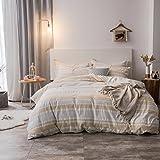 Merryfeel Duvet Cover Set,100% Cotton Woven Seersucker Stripe Duvet Cover Set - Full/Queen