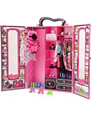 Barwa Fashion Closet Wardrobe 42 Pcs Doll Clothes Sets for Barbie Doll with 5 Pack Dresses Clothes 37 Pcs Different Shoes Hanger Necklace Doll Accessories Xmas Gift