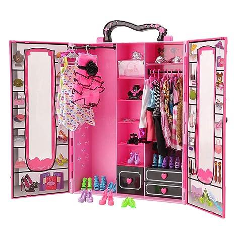 Guardaroba Di Barbie.Miunana 41 Pezzi Per Bambola Barbie Dolls 1 Armadio Guardaroba 4 Vestiti Abiti 1 Borsa 1 Pcs Occhiali 10 Pcs Scarpe 10 Appendini 7