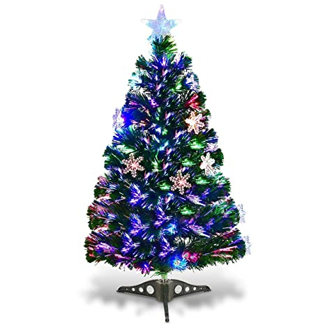 timeless design 6e6f9 c4b05 Goplus Pre-Lit Fiber Optic Artificial Christmas Tree with Multicolor Led  Lights and Snowflakes (3 FT)