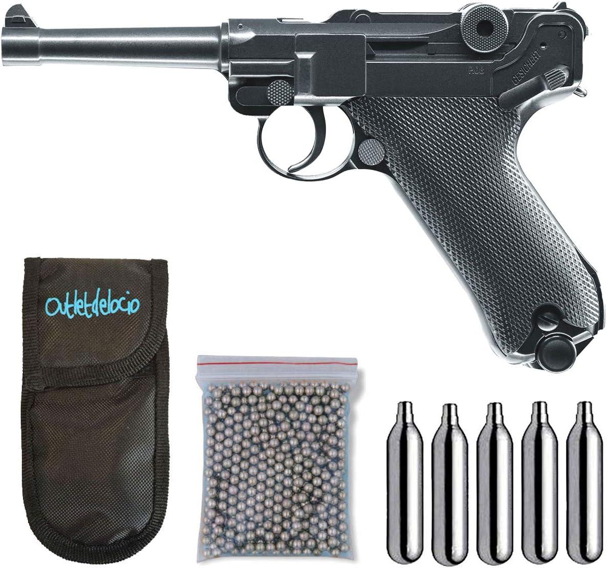 Outletdelocio. Pistola perdigon Luger P08 Full Metal 4,5mm + Funda Portabombonas + Balines + Bombonas co2. 23054/29318/38123